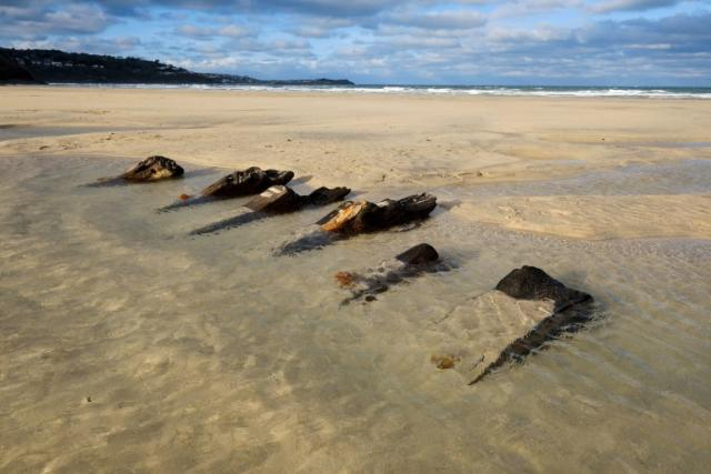 Many locals cannot remember ever seeing the wrecks at Porth Kidney Sands near St Ives (Picture: Cornwall Live/BPM Media)